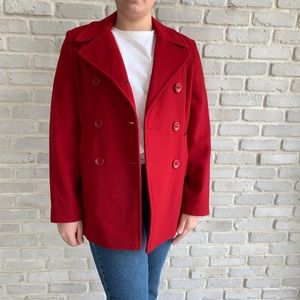 Mackintosh New England Red Wool Pea Coat Small
